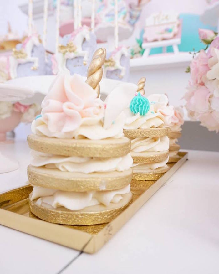 Unicorn cookie stacks from a Magical Unicorn Birthday Party on Kara's Party Ideas | KarasPartyIdeas.com (14)