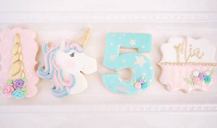 Unicorn cookies from a Magical Unicorn Birthday Party on Kara's Party Ideas | KarasPartyIdeas.com (13)