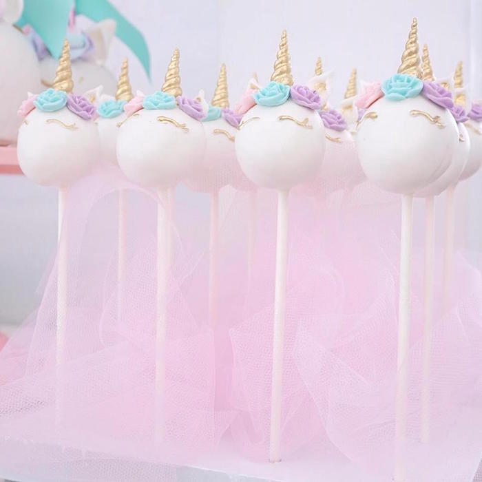 Unicorn cake pops from a Magical Unicorn Birthday Party on Kara's Party Ideas | KarasPartyIdeas.com (12)