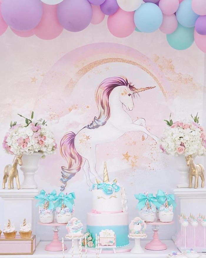 Dessert table from a Magical Unicorn Birthday Party on Kara's Party Ideas | KarasPartyIdeas.com (11)