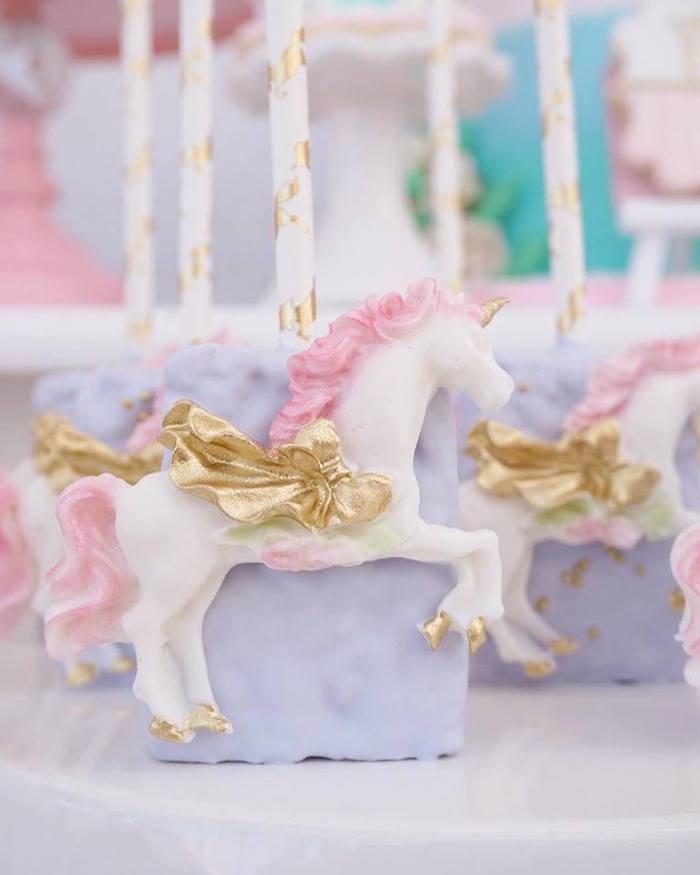Unicorn Rice Krispie Treat from a Magical Unicorn Birthday Party on Kara's Party Ideas | KarasPartyIdeas.com (10)