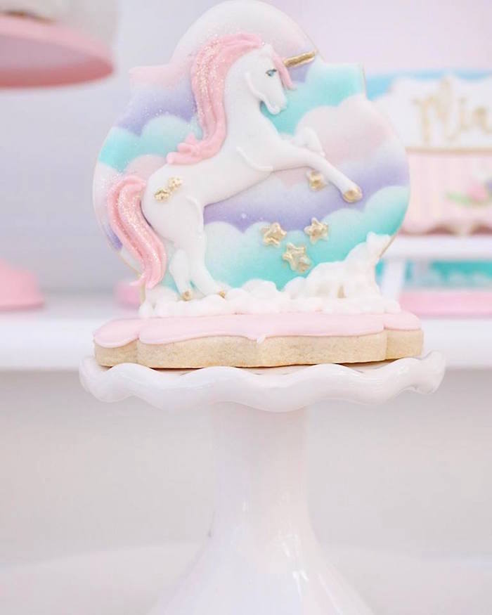 Unicorn cookie from a Magical Unicorn Birthday Party on Kara's Party Ideas | KarasPartyIdeas.com (9)