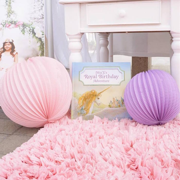 Paper lanterns and book from a Magical Unicorn Birthday Party on Kara's Party Ideas | KarasPartyIdeas.com (6)