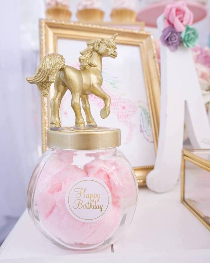 Unicorn favor jar filled with cotton candy from a Magical Unicorn Birthday Party on Kara's Party Ideas | KarasPartyIdeas.com (5)
