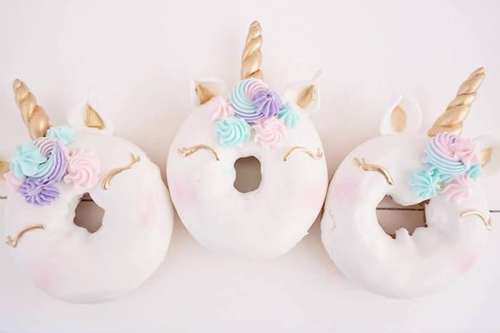 Mini doughnut unicorns from a Magical Unicorn Birthday Party on Kara's Party Ideas | KarasPartyIdeas.com (22)