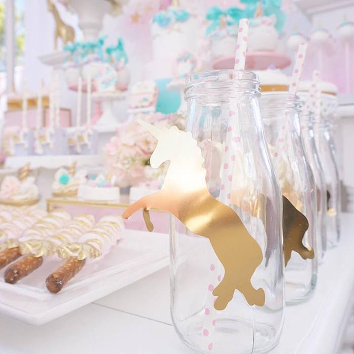 Unicorn drink bottle from a Magical Unicorn Birthday Party on Kara's Party Ideas | KarasPartyIdeas.com (21)