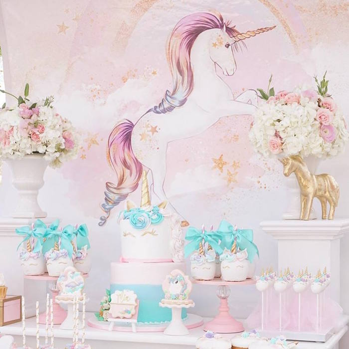 Unicorn dessert spread from a Magical Unicorn Birthday Party on Kara's Party Ideas | KarasPartyIdeas.com (19)
