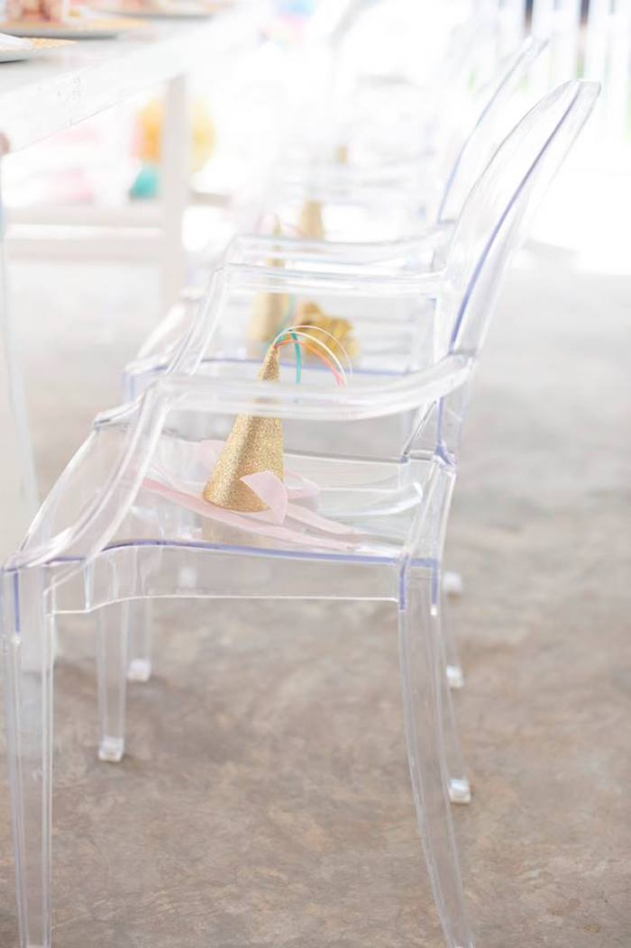 Ghost chairs from a Magical Unicorn and Rainbow Birthday Party on Kara's Party Ideas | KarasPartyIdeas.com (23)