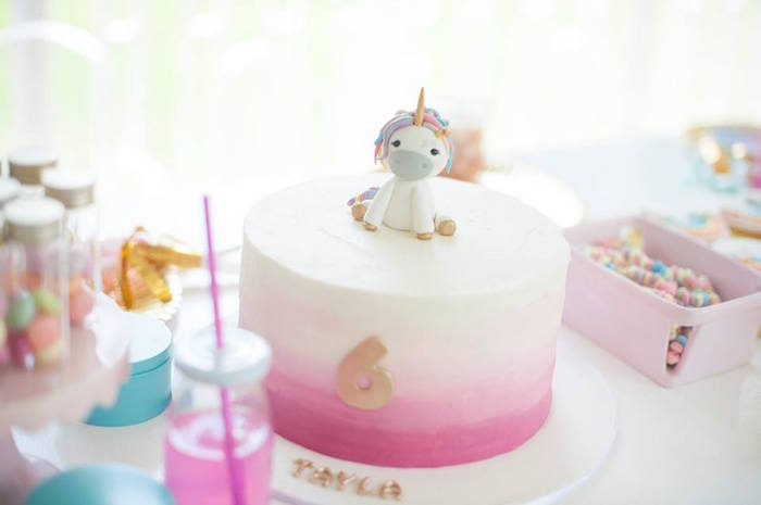 Unicorn pink ombre cake from a Magical Unicorn and Rainbow Birthday Party on Kara's Party Ideas | KarasPartyIdeas.com (22)