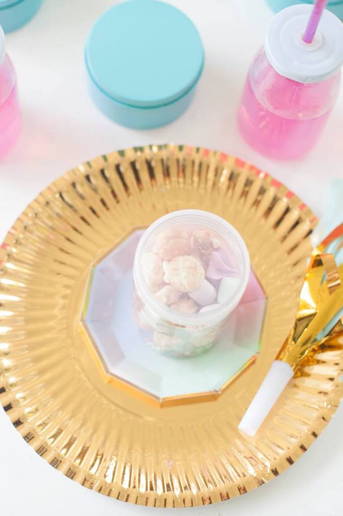 Place setting from a Magical Unicorn and Rainbow Birthday Party on Kara's Party Ideas | KarasPartyIdeas.com (20)