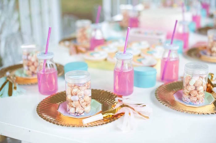Place settings from a Magical Unicorn and Rainbow Birthday Party on Kara's Party Ideas | KarasPartyIdeas.com (19)