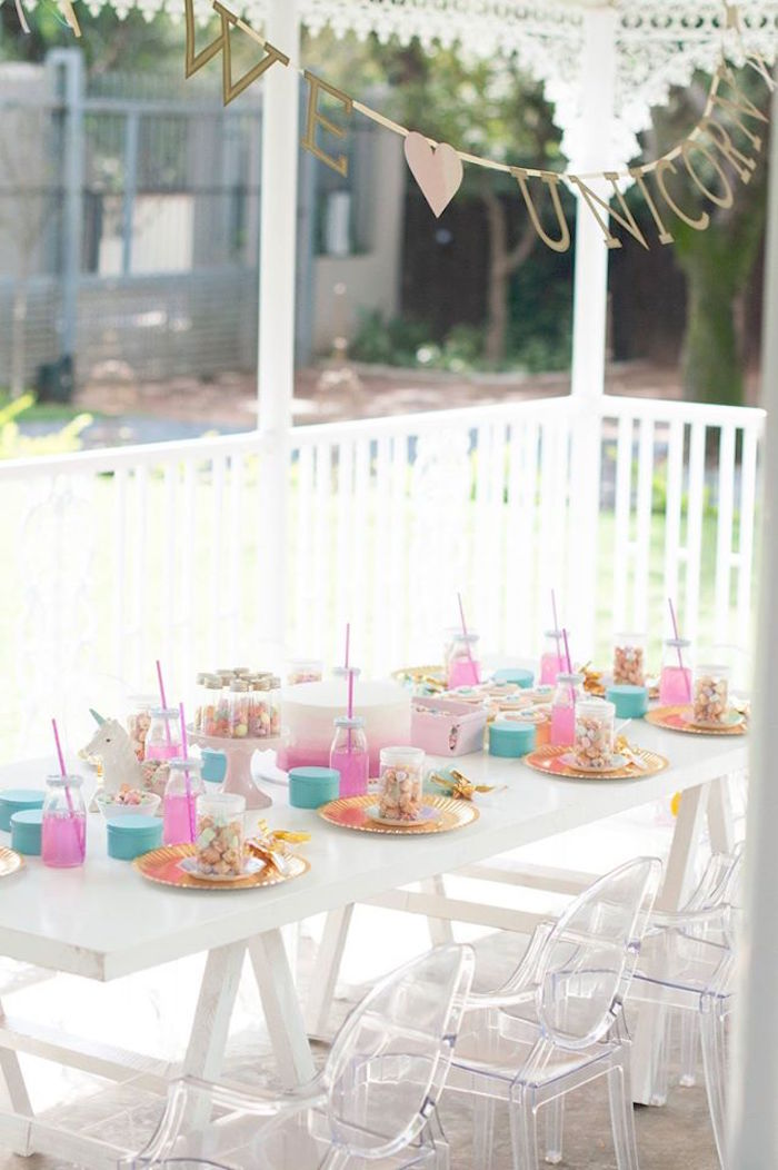 Guest table from a Magical Unicorn and Rainbow Birthday Party on Kara's Party Ideas | KarasPartyIdeas.com (36)