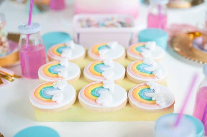 Rainbow cookies from a Magical Unicorn and Rainbow Birthday Party on Kara's Party Ideas   KarasPartyIdeas.com (10)