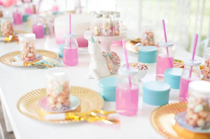 Guest tablescape from a Magical Unicorn and Rainbow Birthday Party on Kara's Party Ideas | KarasPartyIdeas.com (8)