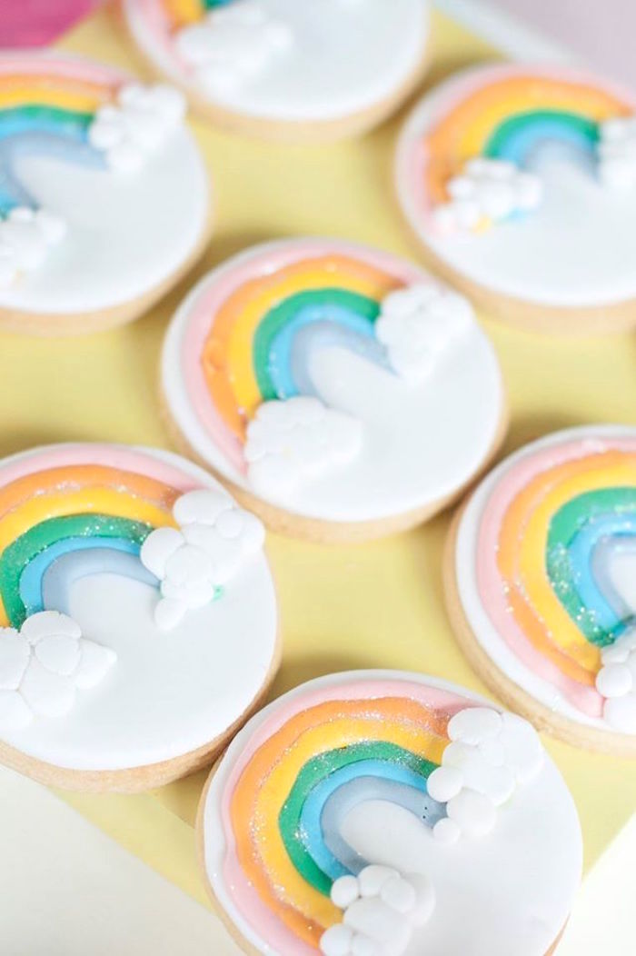 Rainbow cookies from a Magical Unicorn and Rainbow Birthday Party on Kara's Party Ideas   KarasPartyIdeas.com (35)