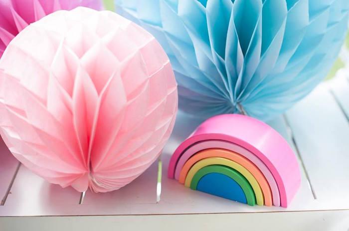 Tissue ball and rainbow decorations from a Magical Unicorn and Rainbow Birthday Party on Kara's Party Ideas   KarasPartyIdeas.com (7)