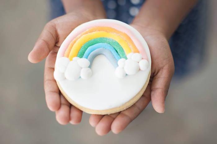 Rainbow cookie from a Magical Unicorn and Rainbow Birthday Party on Kara's Party Ideas   KarasPartyIdeas.com (30)