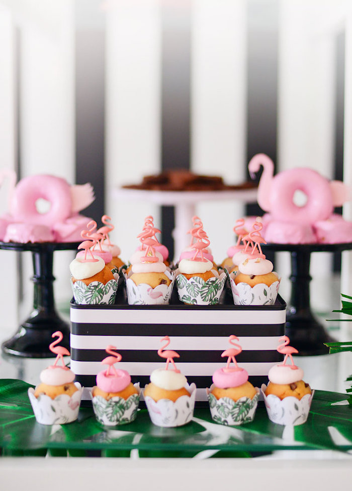 Flamingo cupcakes from a Modern Flamingo Birthday Party on Kara's Party Ideas | KarasPartyIdeas.com (27)