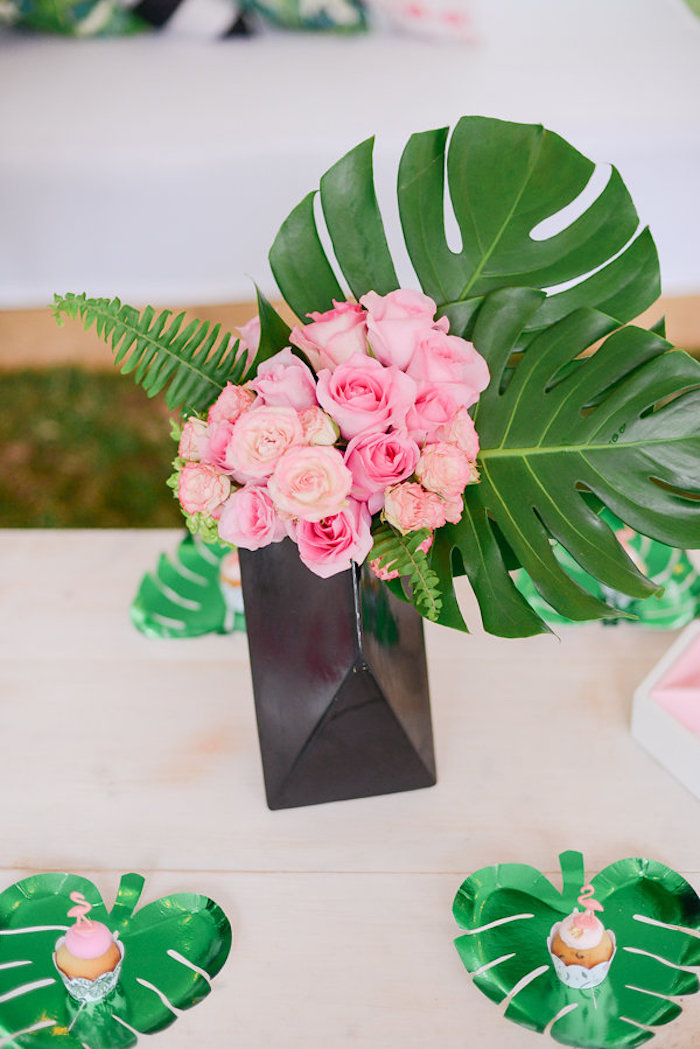 Tropical floral centerpiece from a Modern Flamingo Birthday Party on Kara's Party Ideas | KarasPartyIdeas.com (25)