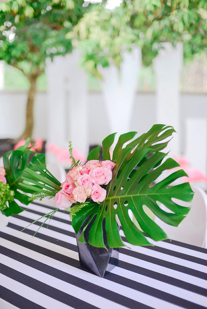 Tropical floral centerpiece from a Modern Flamingo Birthday Party on Kara's Party Ideas | KarasPartyIdeas.com (24)