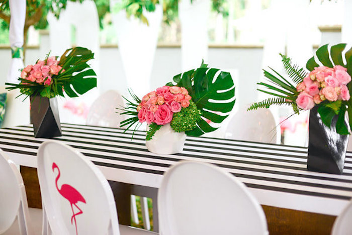 Tropical floral arrangements from a Modern Flamingo Birthday Party on Kara's Party Ideas | KarasPartyIdeas.com (21)
