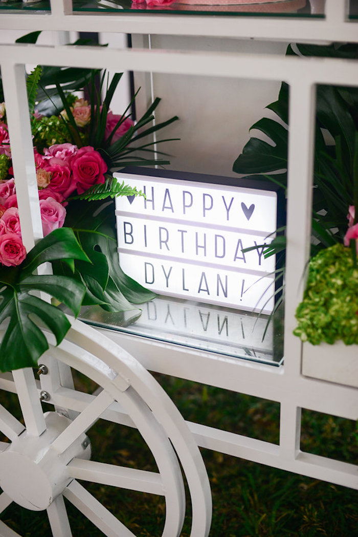 Lightbox sign from a Modern Flamingo Birthday Party on Kara's Party Ideas | KarasPartyIdeas.com (19)