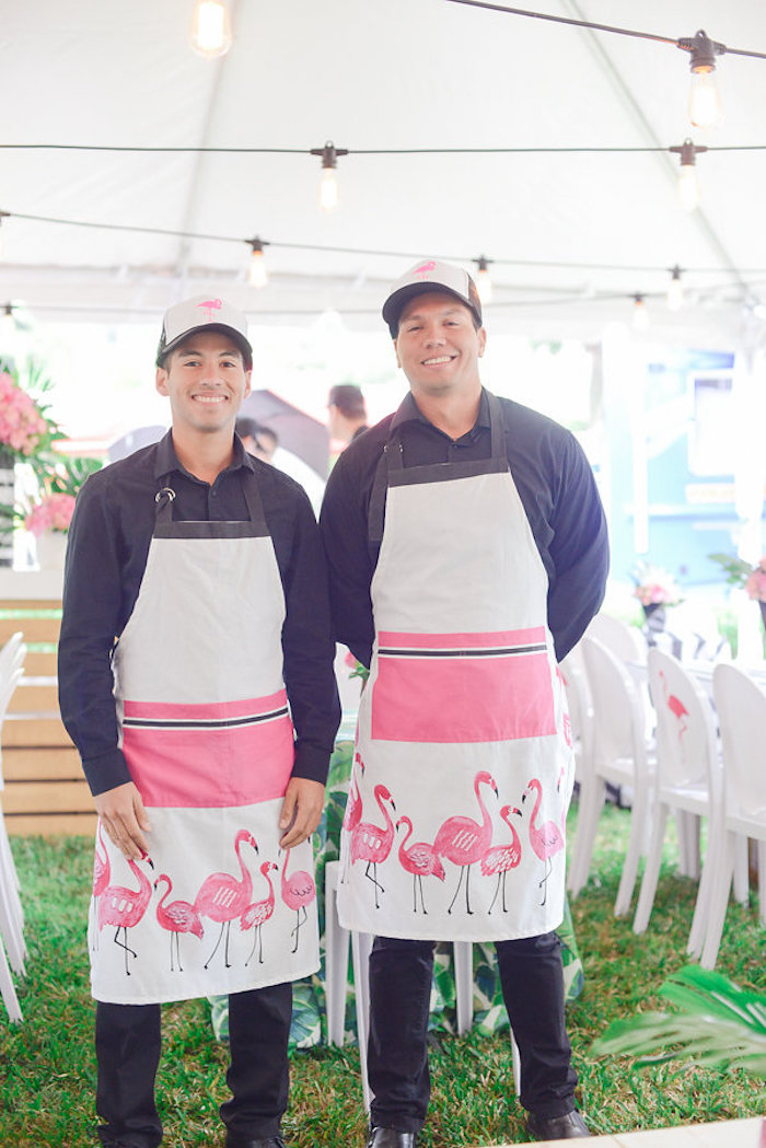 Flamingo aprons from a Modern Flamingo Birthday Party on Kara's Party Ideas | KarasPartyIdeas.com (17)