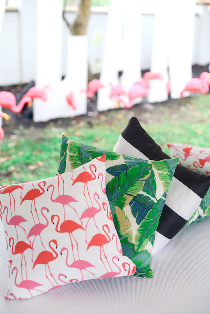 Custom pillows from a Modern Flamingo Birthday Party on Kara's Party Ideas | KarasPartyIdeas.com (16)