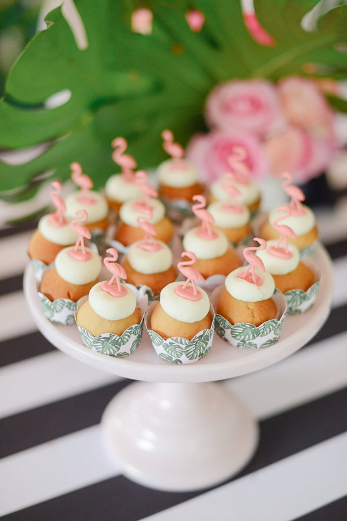 Flamingo cupcakes from a Modern Flamingo Birthday Party on Kara's Party Ideas | KarasPartyIdeas.com (11)
