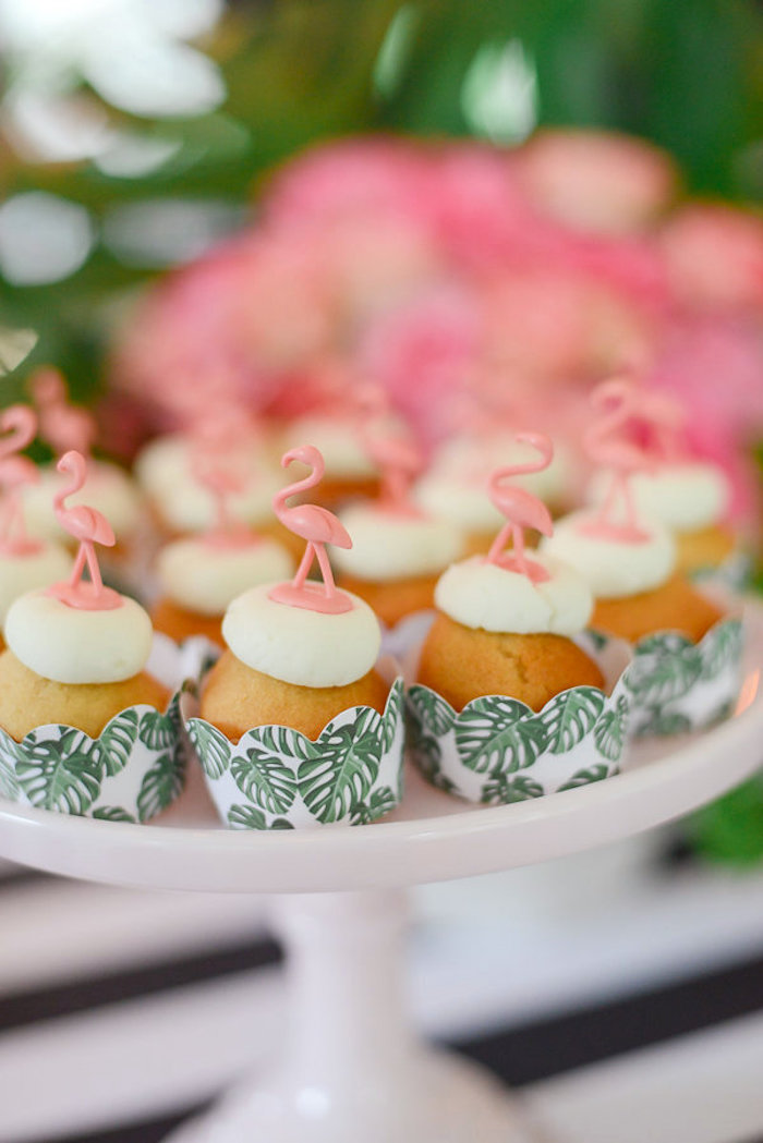 Flamingo cupcakes from a Modern Flamingo Birthday Party on Kara's Party Ideas | KarasPartyIdeas.com (10)