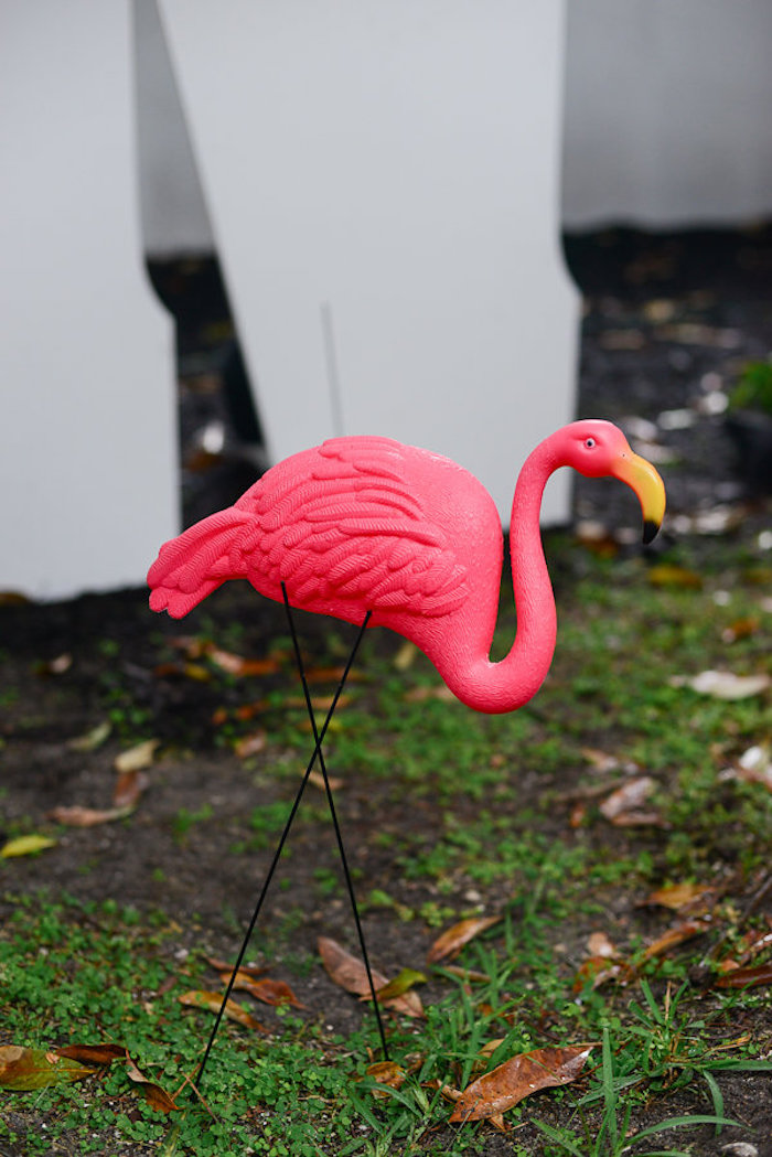Flamingo lawn decoration from a Modern Flamingo Birthday Party on Kara's Party Ideas | KarasPartyIdeas.com (9)
