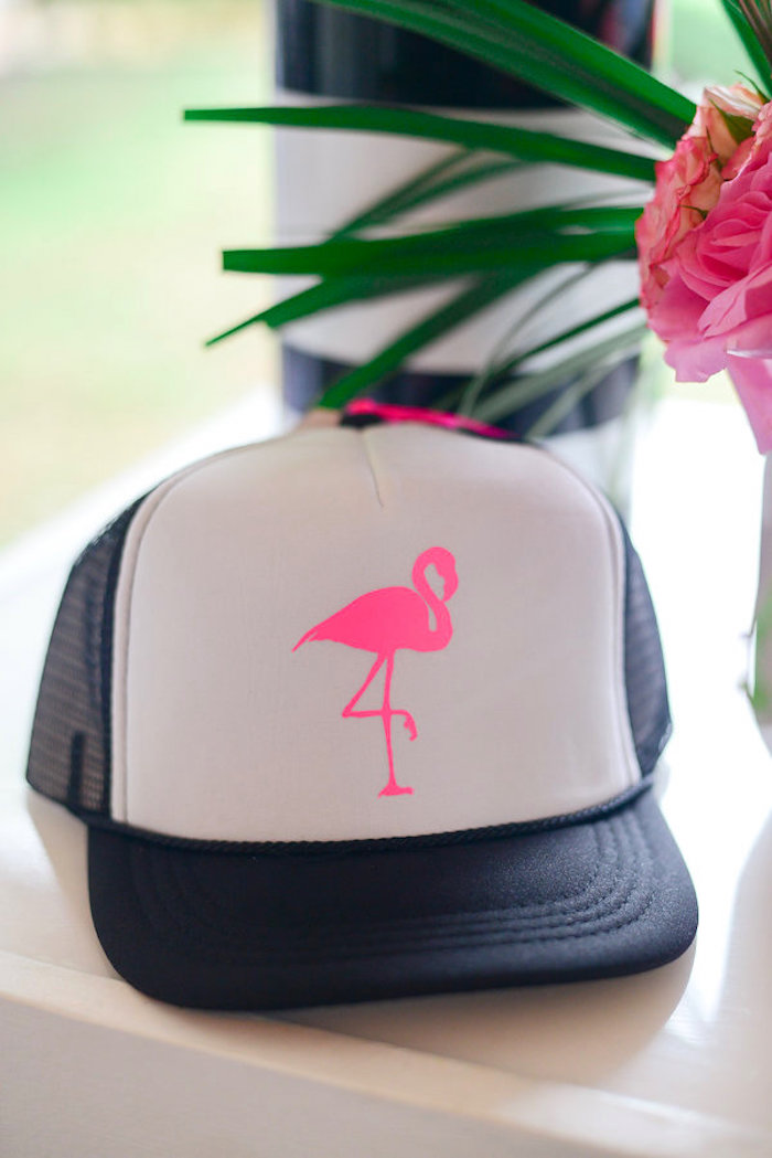 Flamingo hat favor from a Modern Flamingo Birthday Party on Kara's Party Ideas | KarasPartyIdeas.com (7)