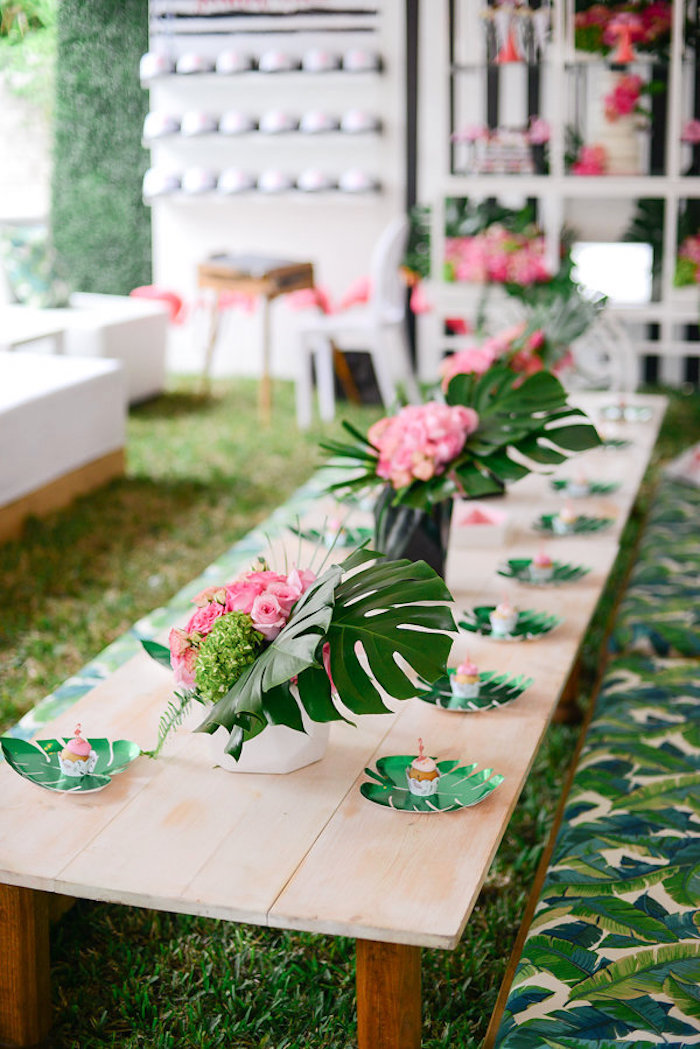 Guest table from a Modern Flamingo Birthday Party on Kara's Party Ideas | KarasPartyIdeas.com (31)