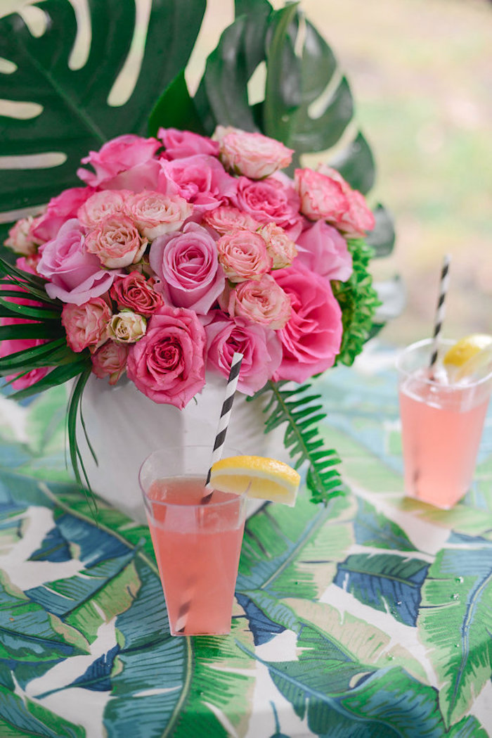 Guest table from a Modern Flamingo Birthday Party on Kara's Party Ideas | KarasPartyIdeas.com (29)