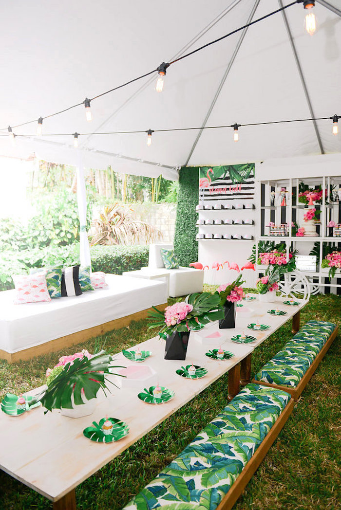 Party tables from a Modern Flamingo Birthday Party on Kara's Party Ideas | KarasPartyIdeas.com (28)