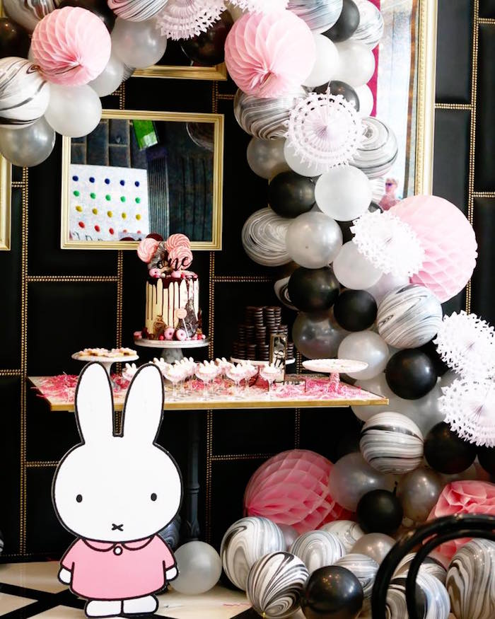 Dessert table from a Monochromatic Miffy Inspired Birthday Party on Kara's Party Ideas | KarasPartyIdeas.com (10)