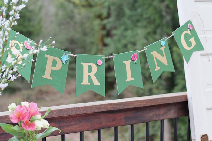 Spring banner from a Mother's Day Ladies Lunch on Kara's Party Ideas | KarasPartyIdeas.com (15)