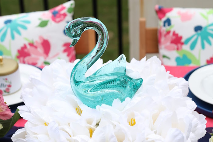 Silk tulips and swan centerpiece from a Mother's Day Ladies Lunch on Kara's Party Ideas | KarasPartyIdeas.com (20)