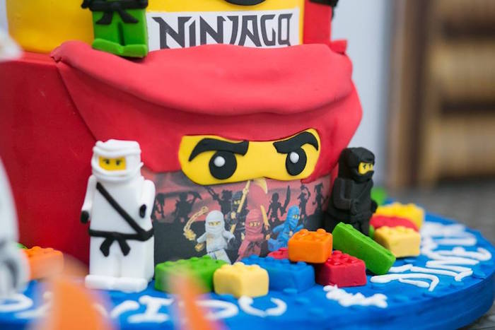 Cake detail from a Ninjago Lego Ninja Birthday Party on Kara's Party Ideas | KarasPartyIdeas.com (17)