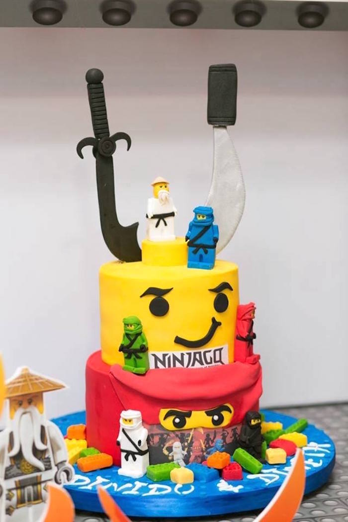 Ninjango Cake from a Ninjago Lego Ninja Birthday Party on Kara's Party Ideas | KarasPartyIdeas.com (14)