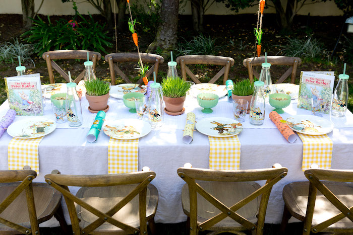 Peter Rabbit party table from a Peter Rabbit Easter Party on Kara's Party Ideas | KarasPartyIdeas.com (16)