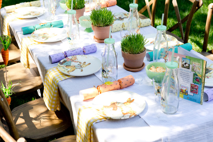 Place settings + tablescape from a Peter Rabbit Easter Party on Kara's Party Ideas | KarasPartyIdeas.com (13)