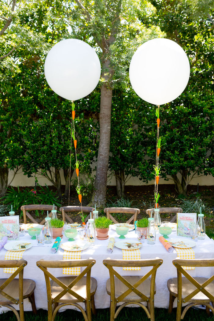 Seated table from a Peter Rabbit Easter Party on Kara's Party Ideas | KarasPartyIdeas.com (12)