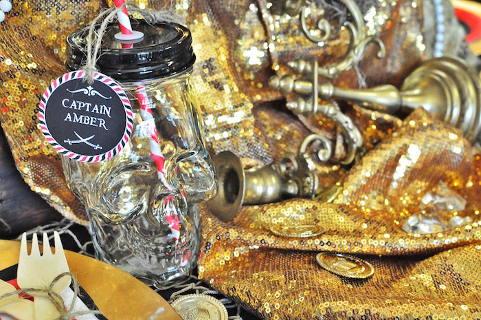 Skull drink bottle from a Pirates of the Caribbean Birthday Party on Kara's Party Ideas | KarasPartyIdeas.com (37)