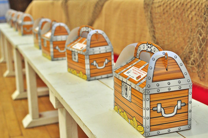 Treasure chest gable favor boxes from a Pirates of the Caribbean Birthday Party on Kara's Party Ideas | KarasPartyIdeas.com (35)