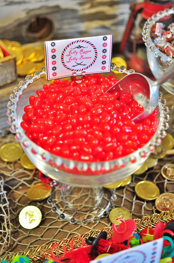 Jolly Roger Jelly Beans from a Pirates of the Caribbean Birthday Party on Kara's Party Ideas | KarasPartyIdeas.com (28)