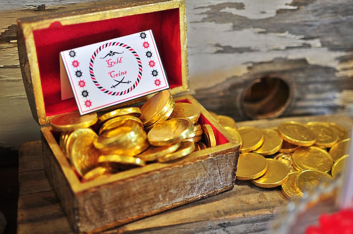 Gold coin chocolates from a Pirates of the Caribbean Birthday Party on Kara's Party Ideas | KarasPartyIdeas.com (27)