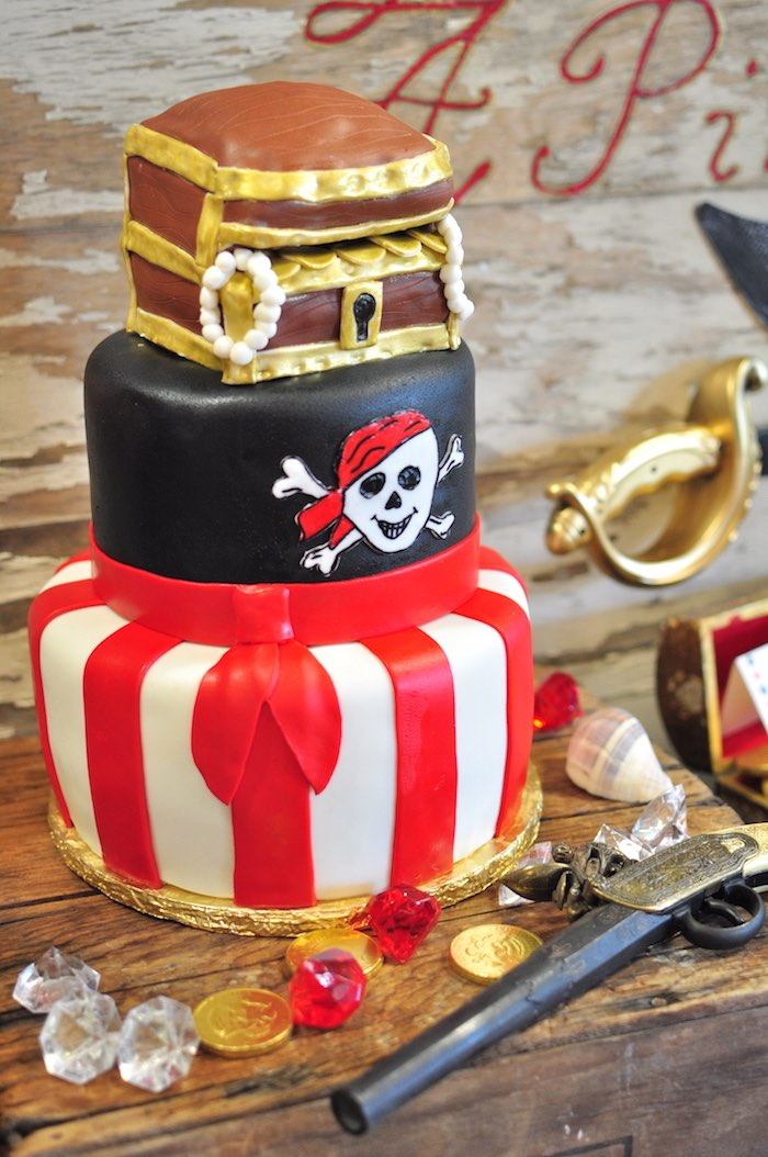Pirate cake from a Pirates of the Caribbean Birthday Party on Kara's Party Ideas | KarasPartyIdeas.com (17)