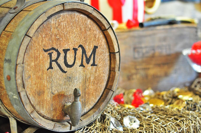 """Rum"" beverage barrel from a Pirates of the Caribbean Birthday Party on Kara's Party Ideas 
