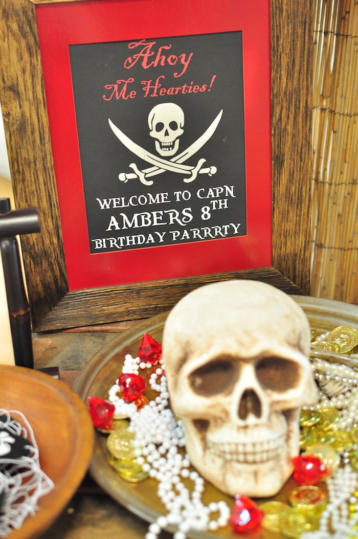 Welcome sign from a Pirates of the Caribbean Birthday Party on Kara's Party Ideas | KarasPartyIdeas.com (15)